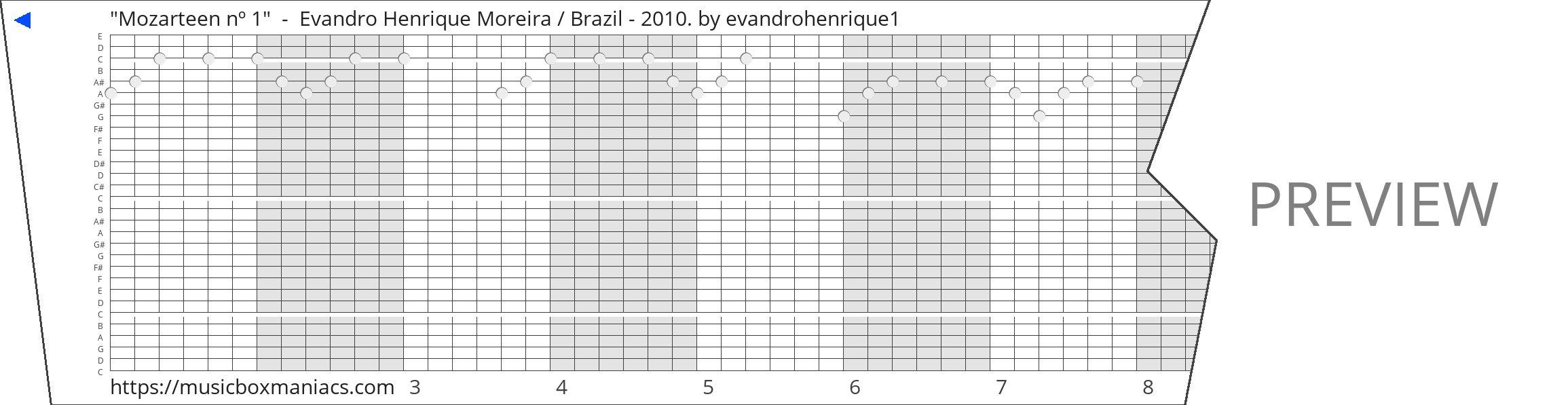 """Mozarteen nº 1""  -  Evandro Henrique Moreira / Brazil - 2010. 30 note music box paper strip"