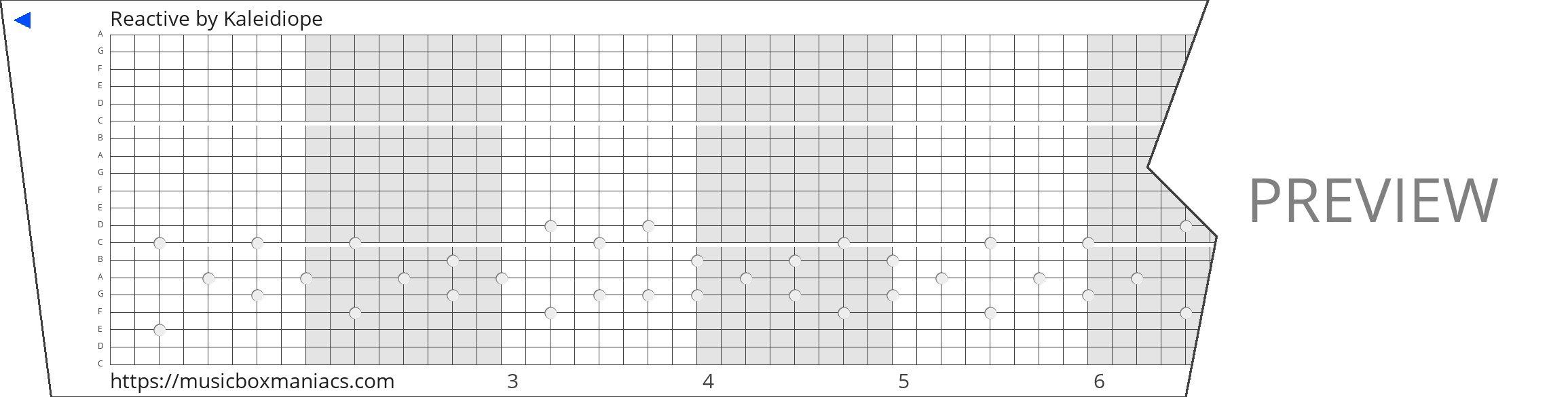 Reactive 20 note music box paper strip