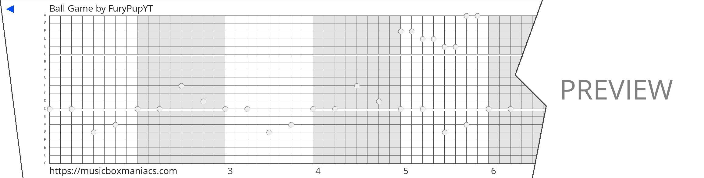 Ball Game 20 note music box paper strip