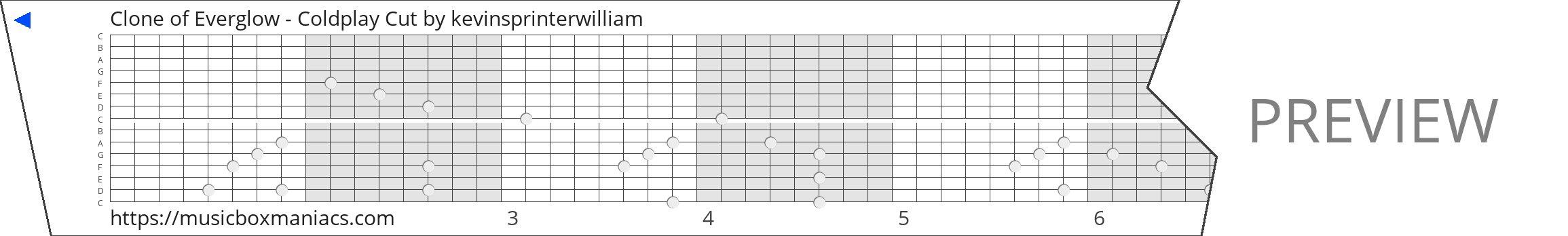 Clone of Everglow - Coldplay Cut 15 note music box paper strip