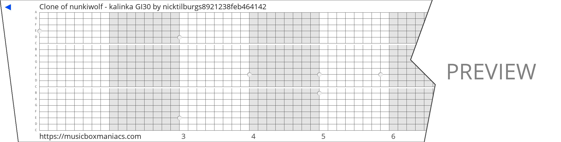 Clone of nunkiwolf - kalinka GI30 20 note music box paper strip