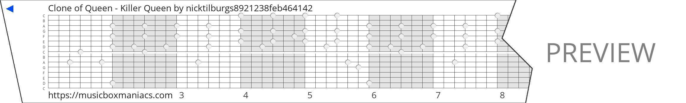 Clone of Queen - Killer Queen 15 note music box paper strip