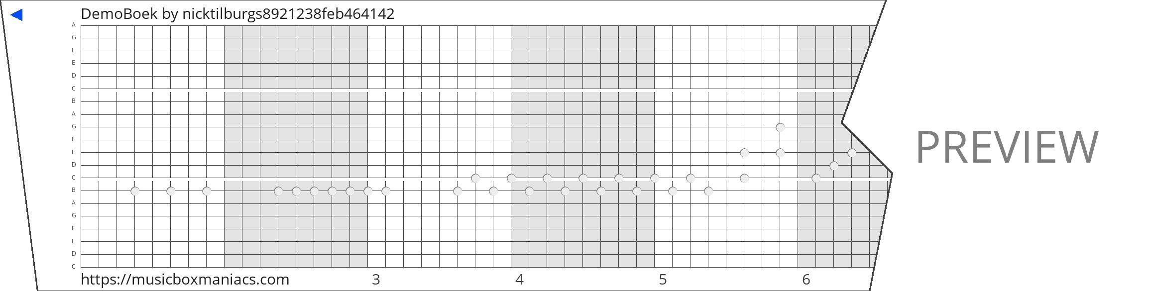 DemoBoek 20 note music box paper strip