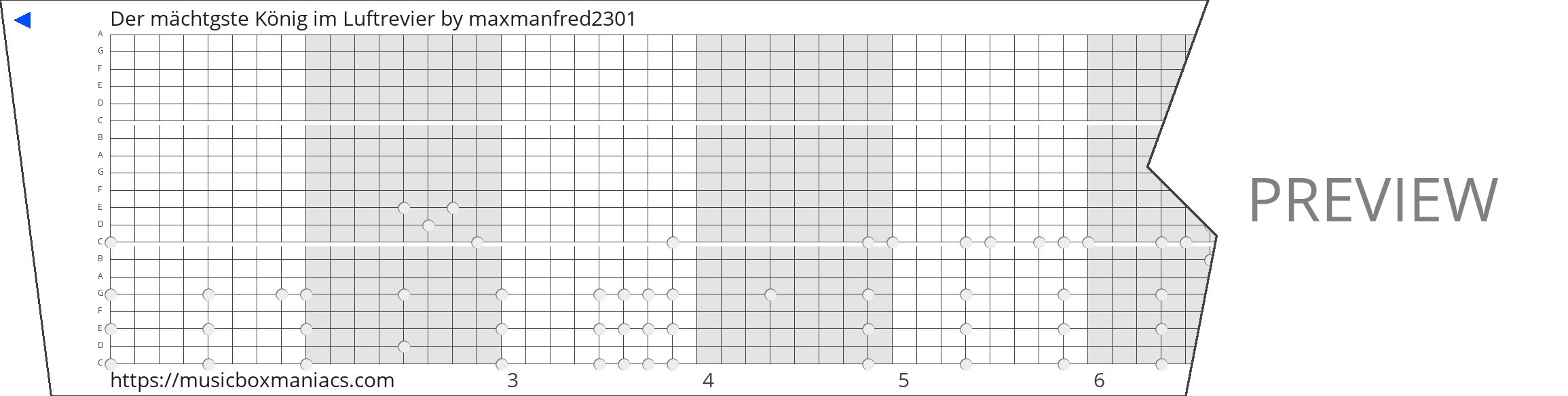 Der mächtgste König im Luftrevier 20 note music box paper strip