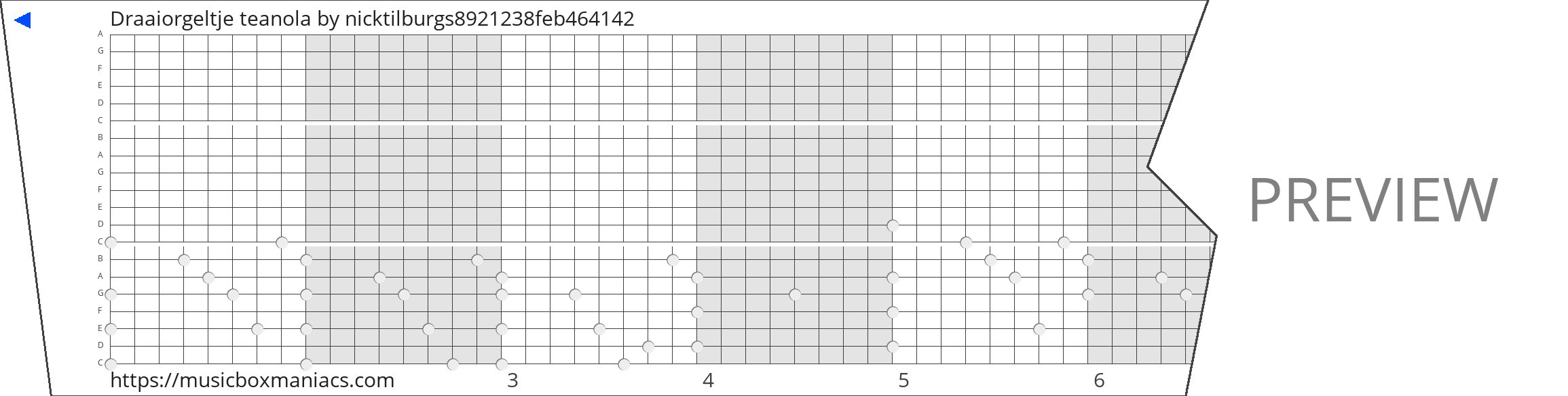Draaiorgeltje teanola 20 note music box paper strip
