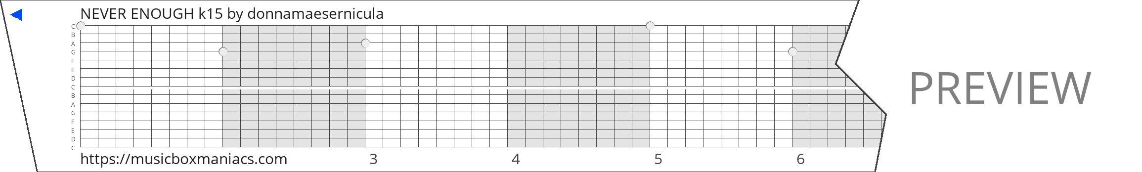NEVER ENOUGH k15 15 note music box paper strip