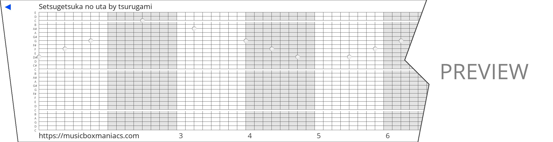 Setsugetsuka no uta 30 note music box paper strip