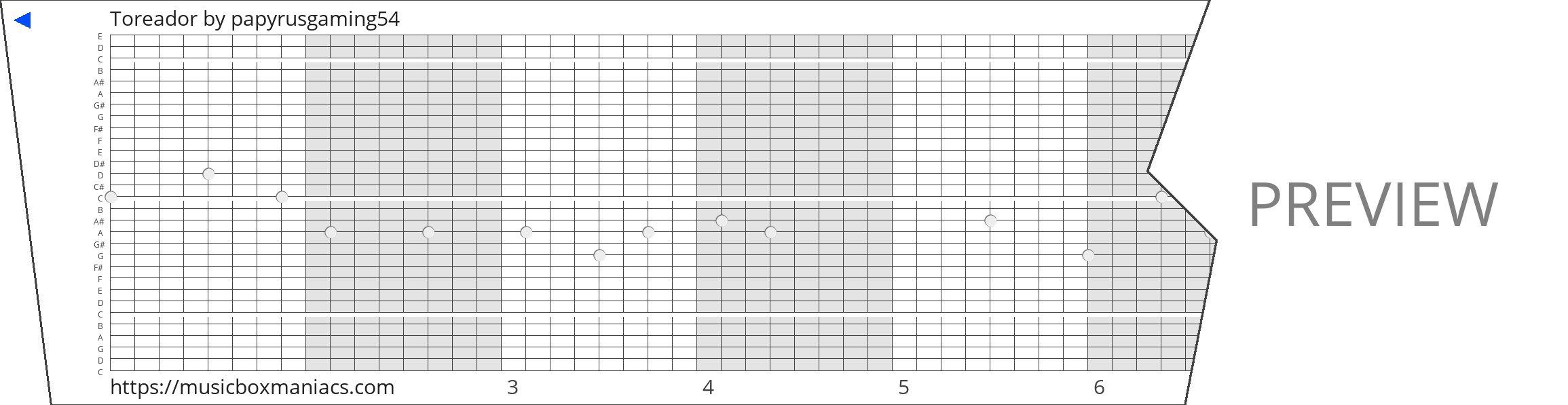 Toreador 30 note music box paper strip