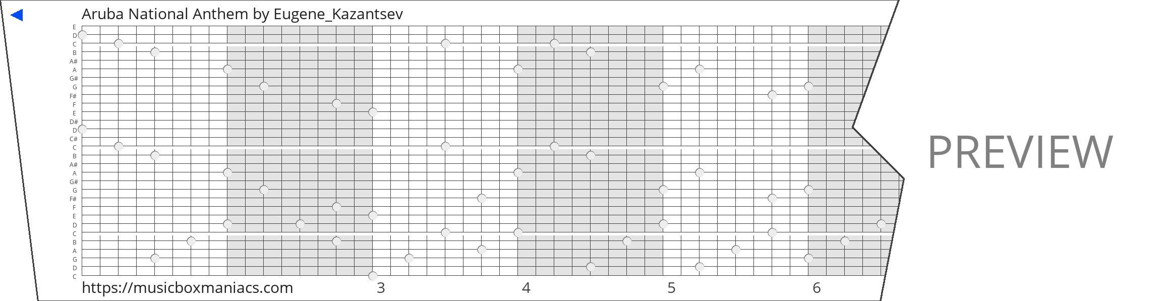 Aruba National Anthem 30 note music box paper strip