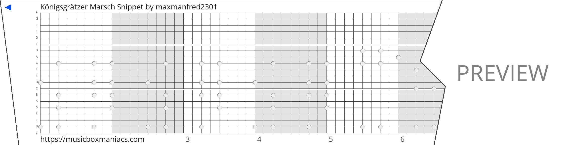 Königsgrätzer Marsch Snippet 20 note music box paper strip