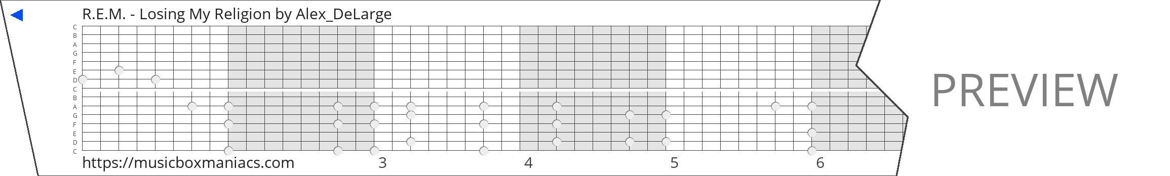 R.E.M. - Losing My Religion 15 note music box paper strip