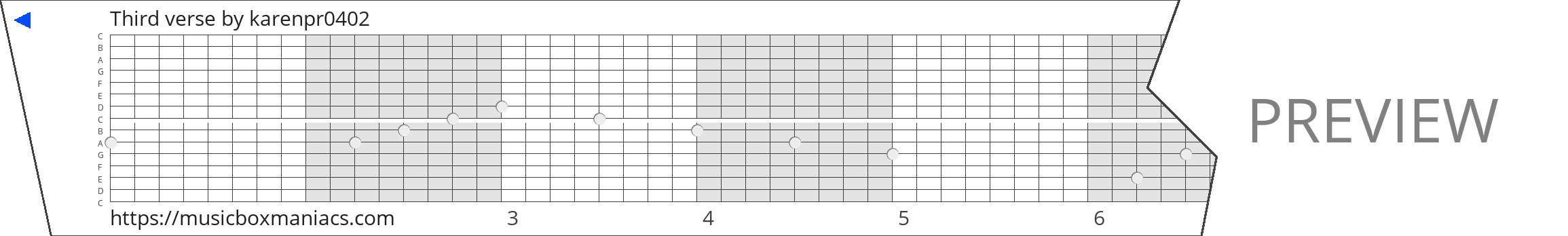 Third verse 15 note music box paper strip