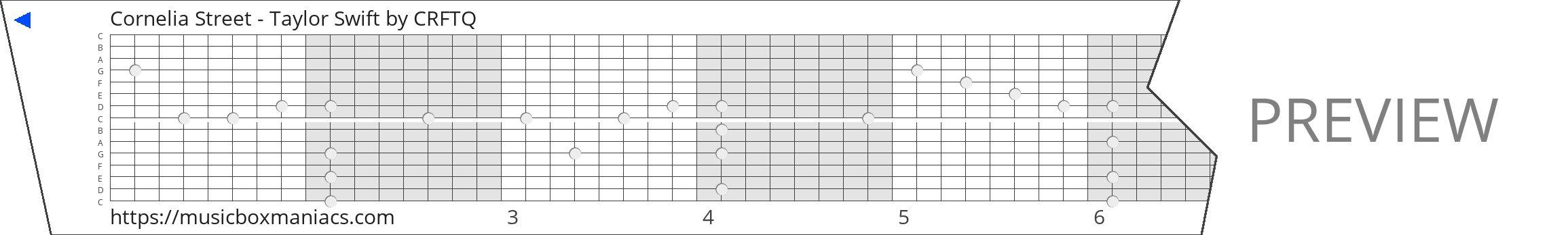 Cornelia Street - Taylor Swift 15 note music box paper strip