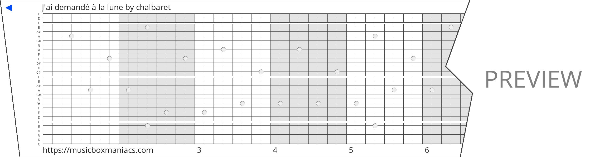 J'ai demandé à la lune 30 note music box paper strip