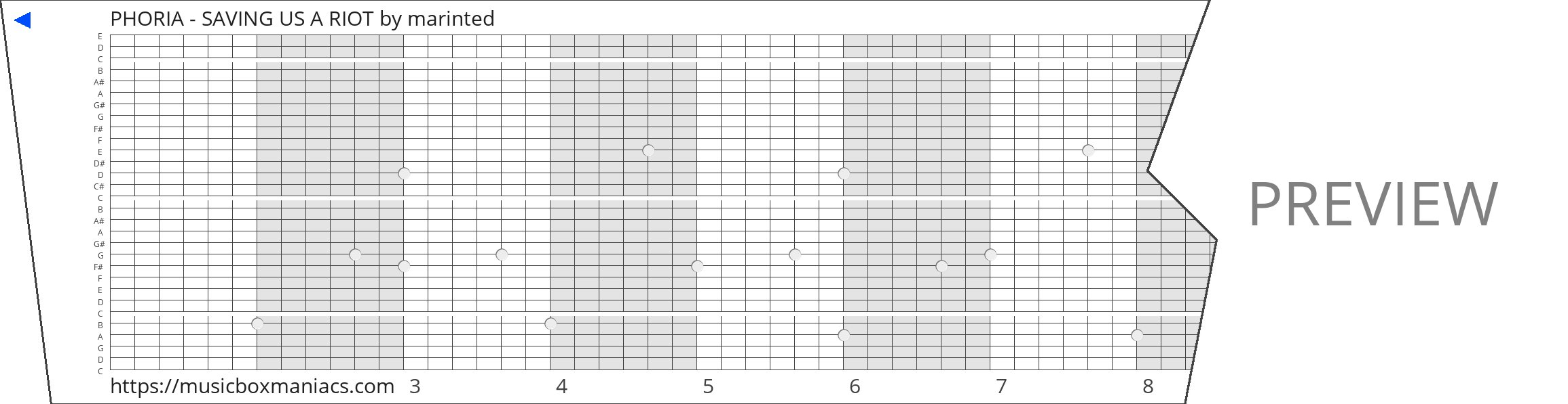 PHORIA - SAVING US A RIOT 30 note music box paper strip