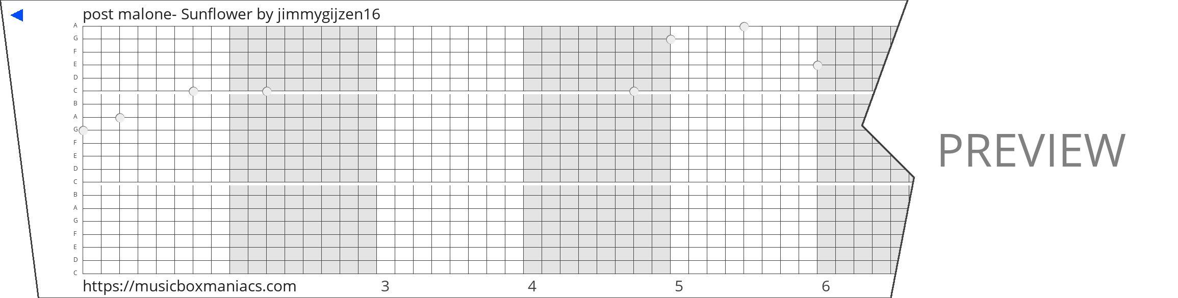 post malone- Sunflower 20 note music box paper strip