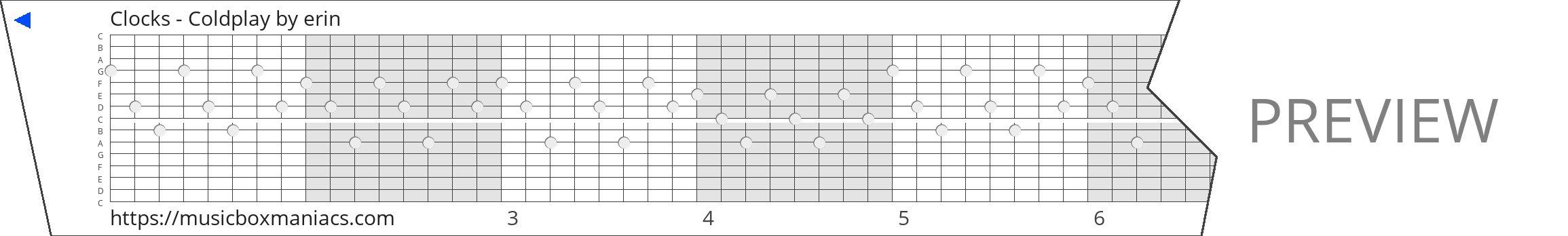 Clocks - Coldplay 15 note music box paper strip