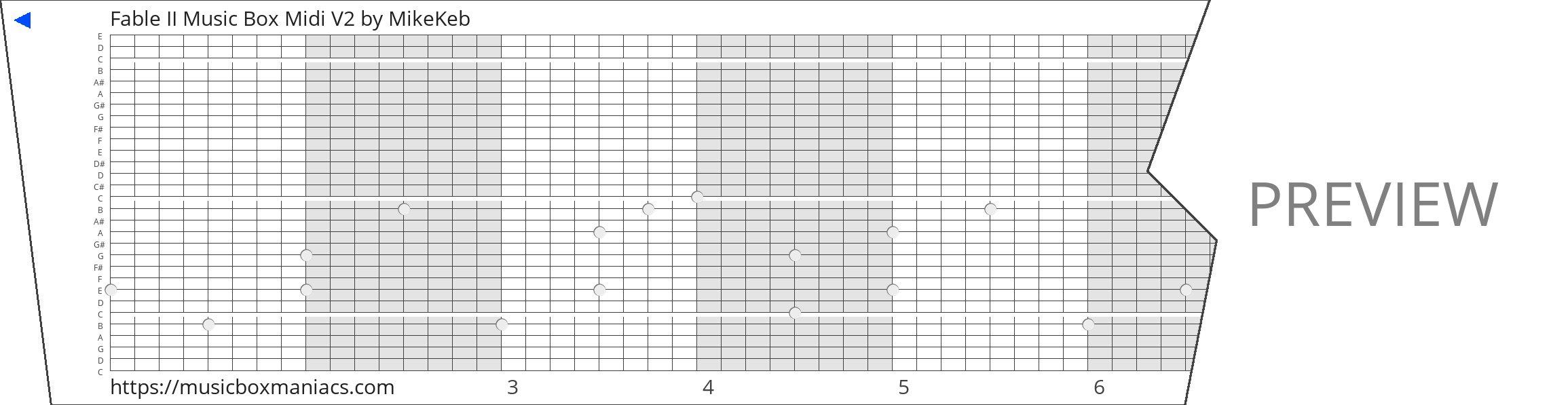 Fable II Music Box Midi V2 30 note music box paper strip