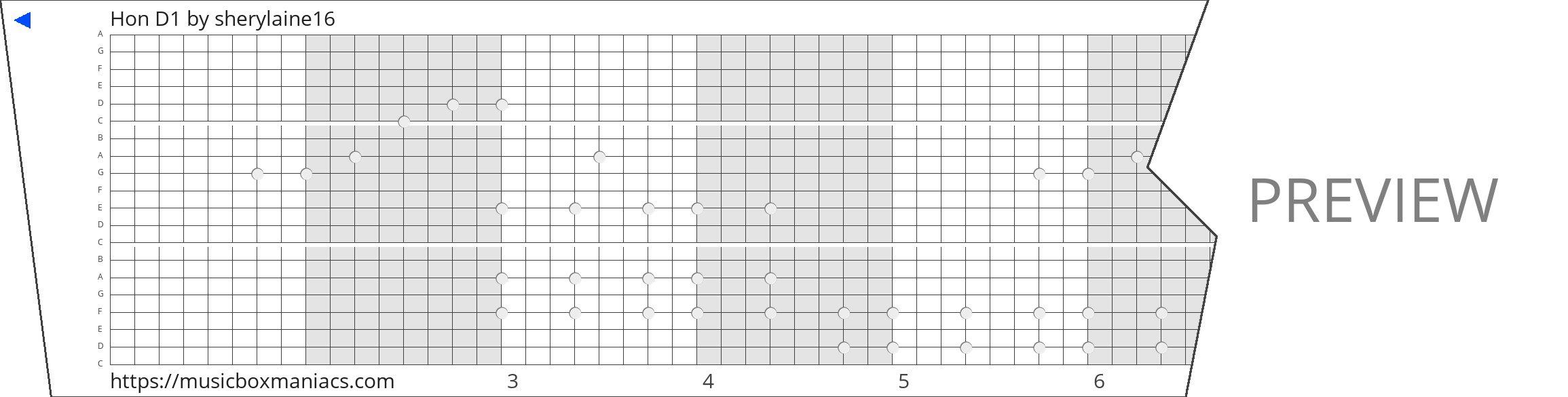 Hon D1 20 note music box paper strip
