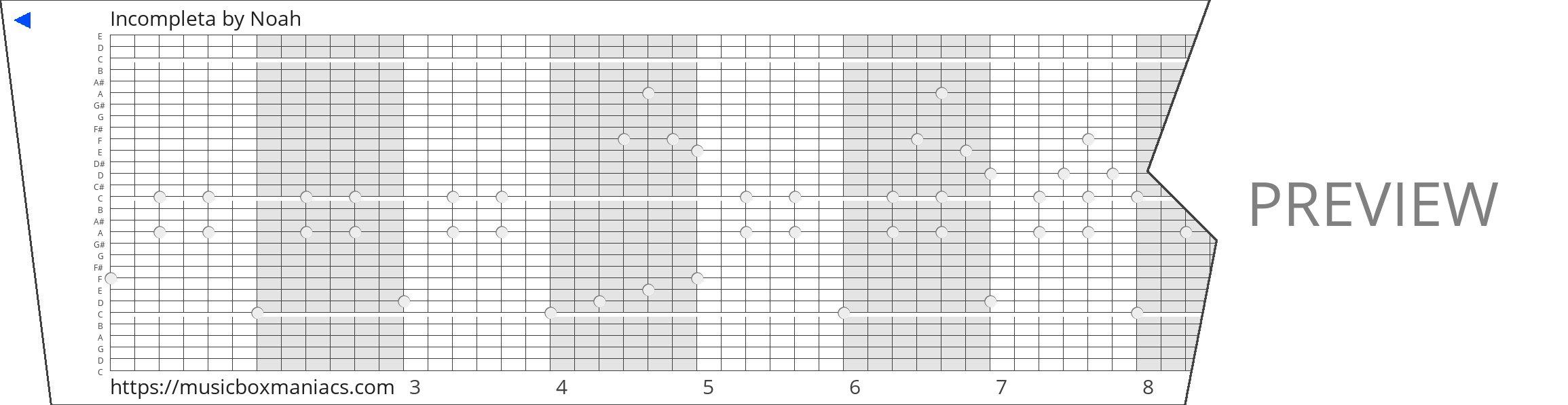 Incompleta 30 note music box paper strip