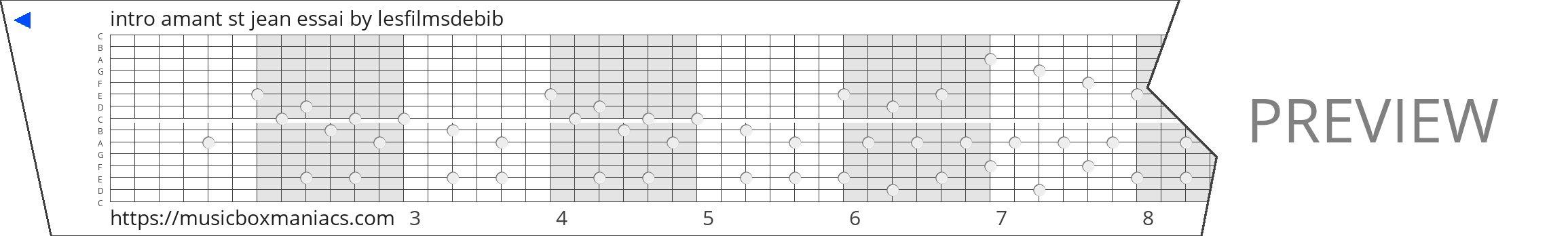 intro amant st jean essai 15 note music box paper strip