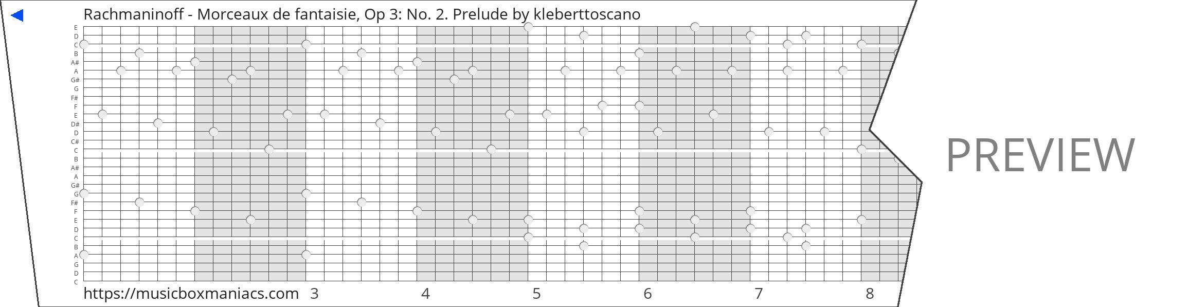 Rachmaninoff - Morceaux de fantaisie, Op 3: No. 2. Prelude 30 note music box paper strip
