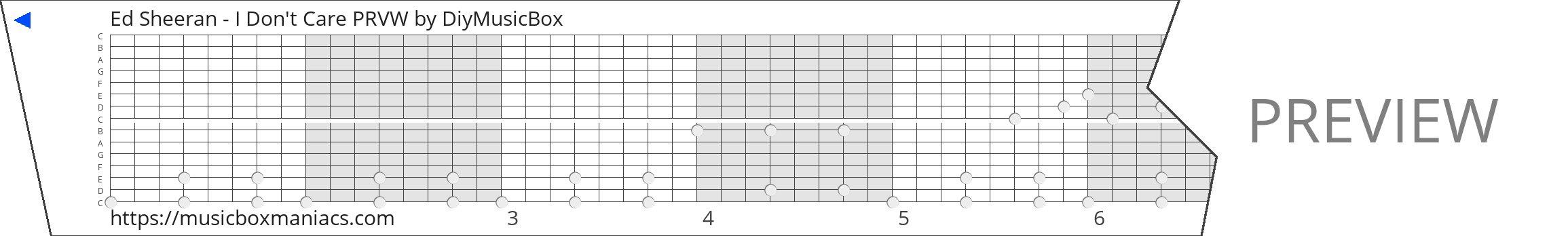 Ed Sheeran - I Don't Care PRVW 15 note music box paper strip