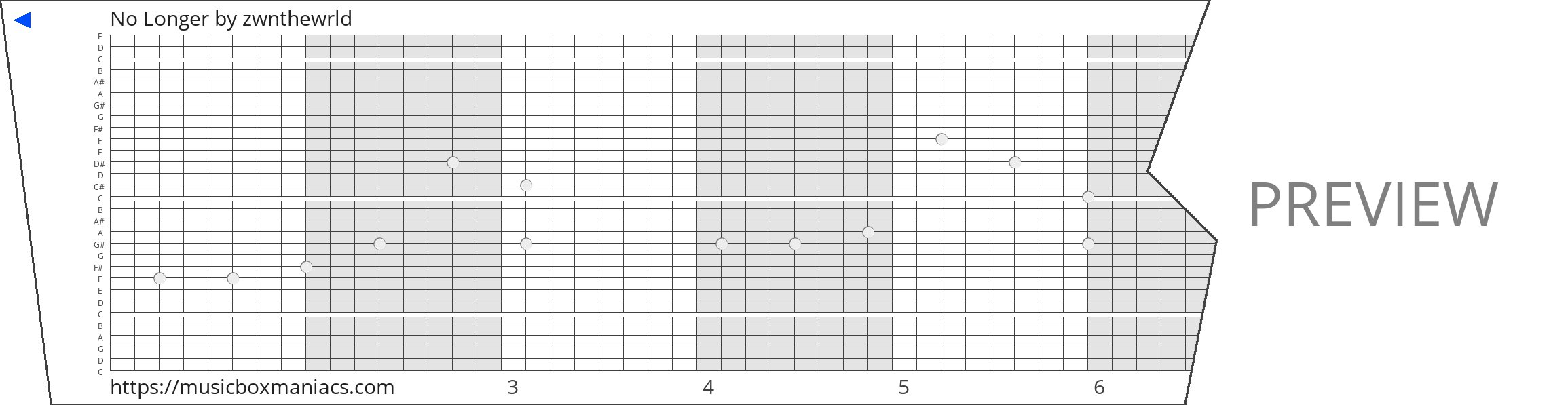 No Longer 30 note music box paper strip