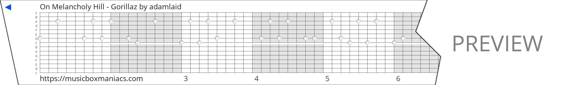 On Melancholy Hill - Gorillaz 15 note music box paper strip