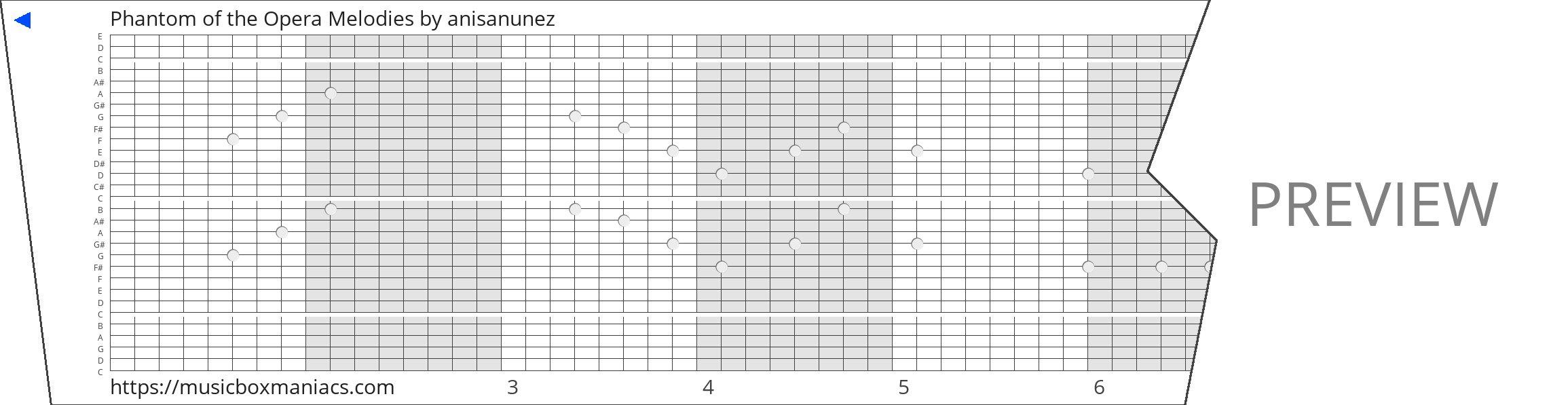 Phantom of the Opera Melodies 30 note music box paper strip