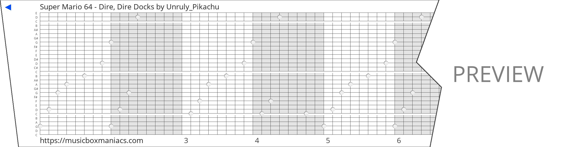 Super Mario 64 - Dire, Dire Docks 30 note music box paper strip