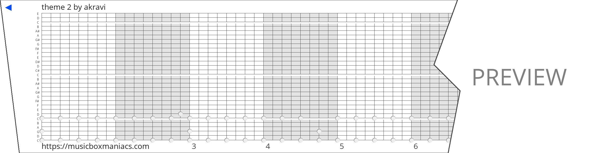 theme 2 30 note music box paper strip