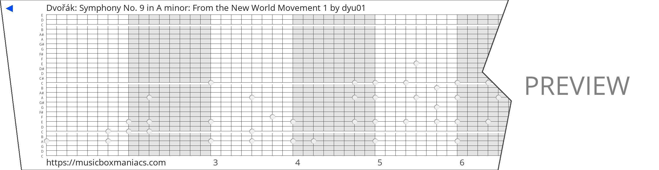 Dvořák: Symphony No. 9 in A minor: From the New World Movement 1 30 note music box paper strip