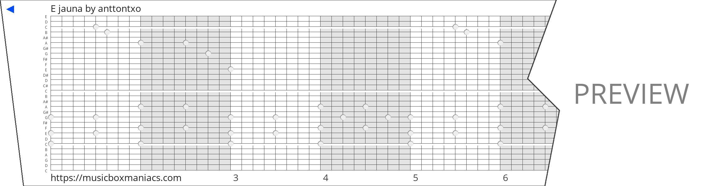 E jauna 30 note music box paper strip