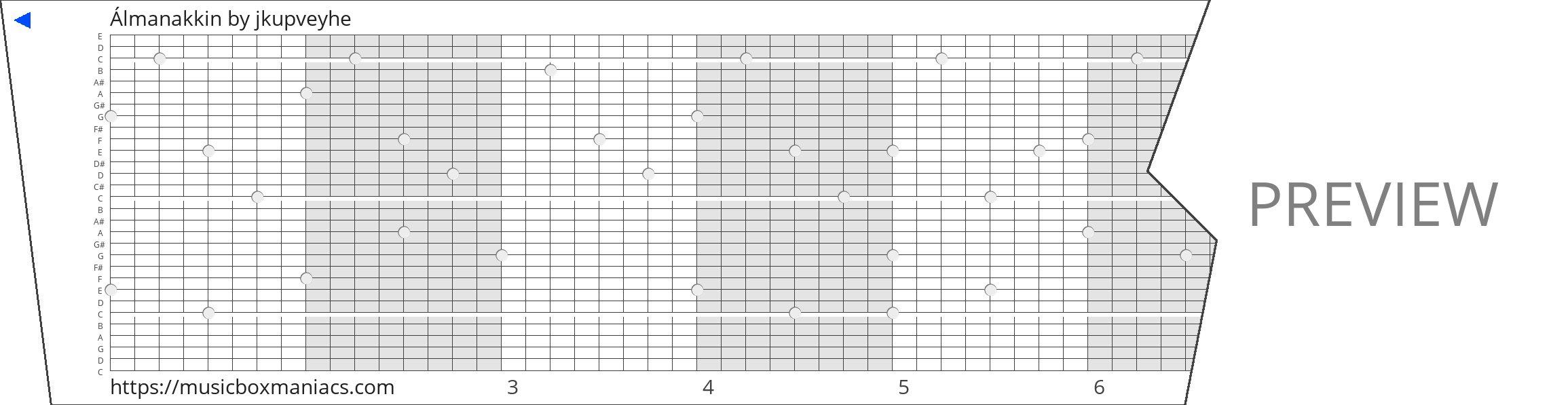 Álmanakkin 30 note music box paper strip