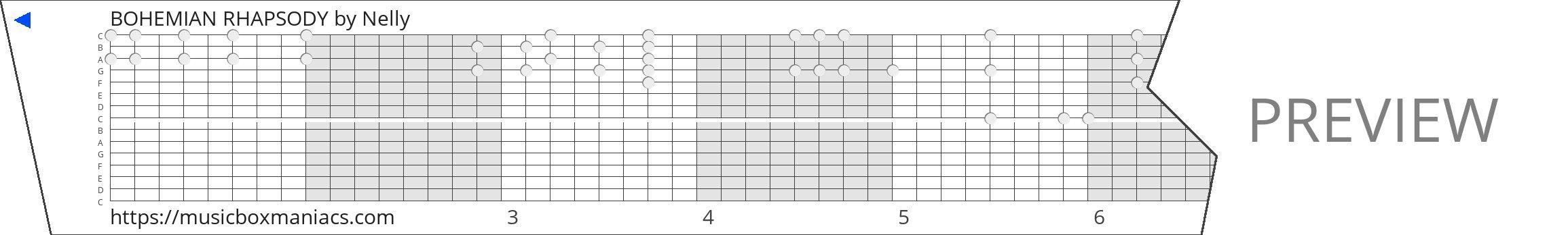 BOHEMIAN RHAPSODY 15 note music box paper strip