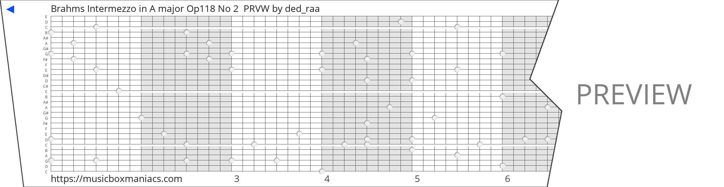 Brahms Intermezzo in A major Op118 No 2  PRVW 30 note music box paper strip
