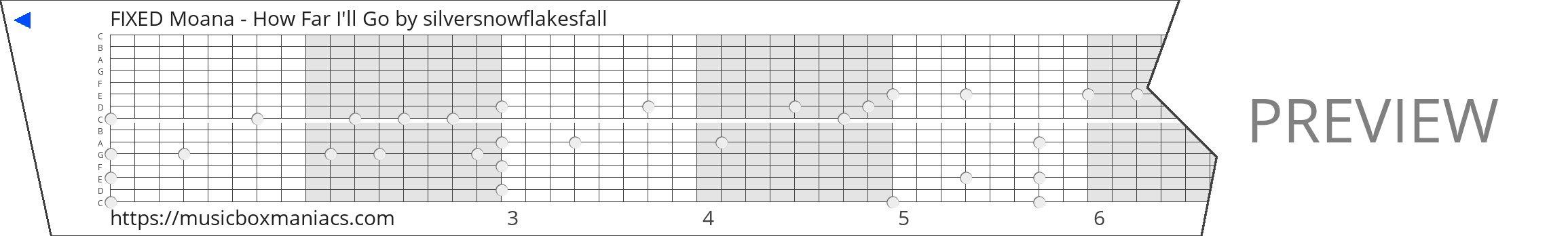 FIXED Moana - How Far I'll Go 15 note music box paper strip