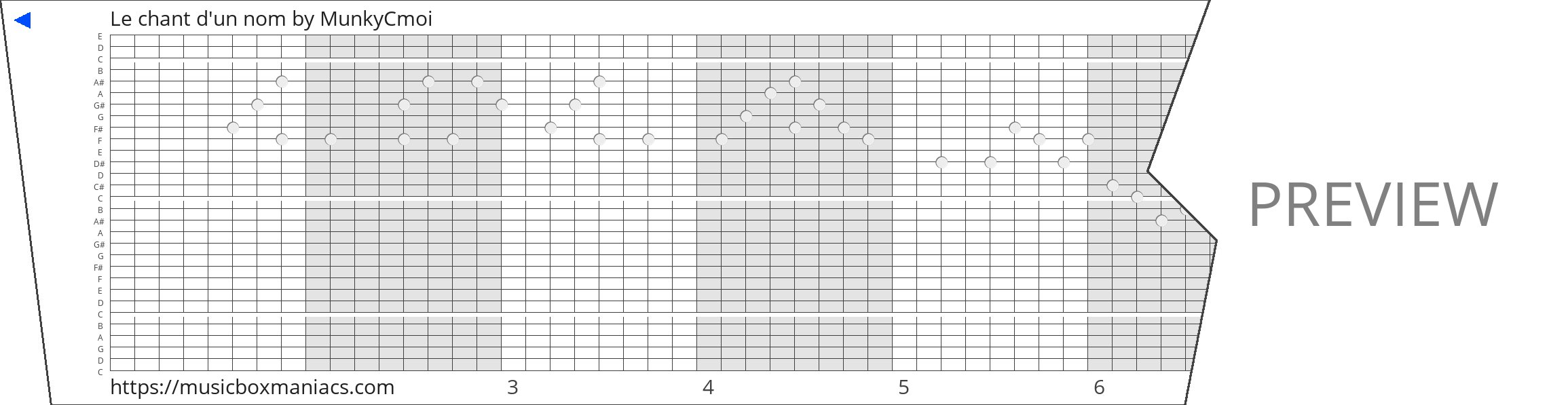 Le chant d'un nom 30 note music box paper strip