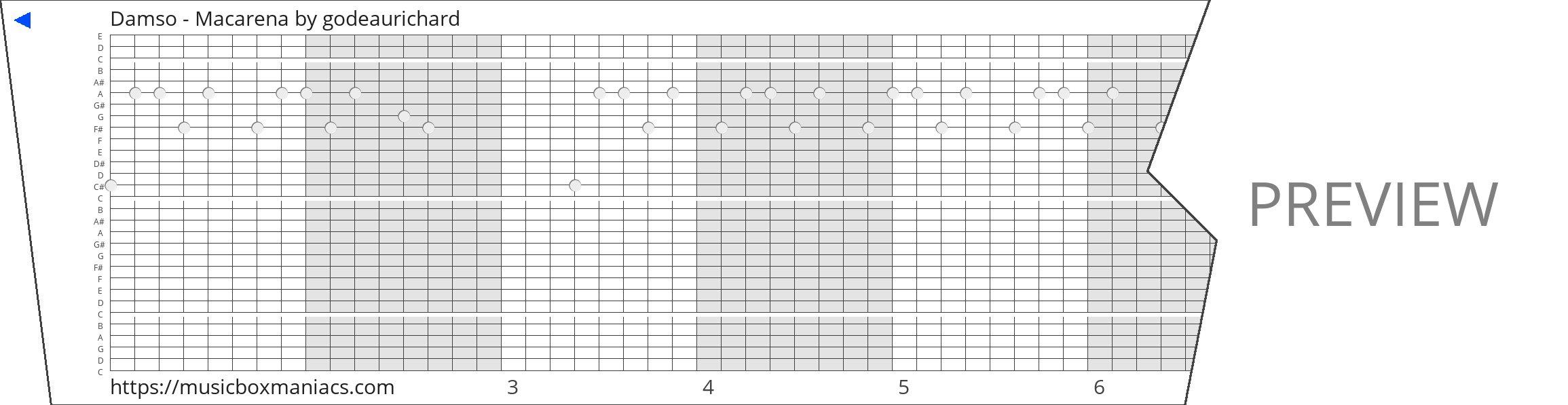 Damso - Macarena 30 note music box paper strip