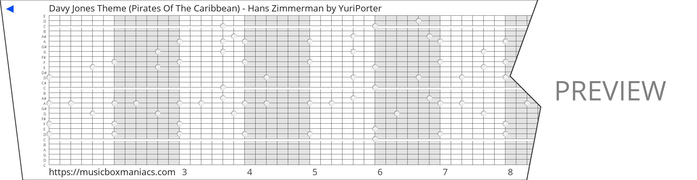 Davy Jones Theme (Pirates Of The Caribbean) - Hans Zimmerman 30 note music box paper strip