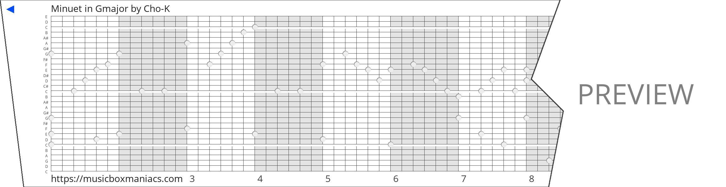 Minuet in Gmajor 30 note music box paper strip