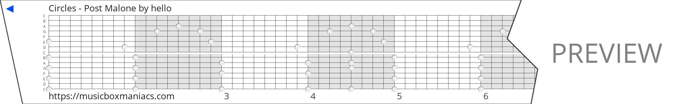 Circles - Post Malone 15 note music box paper strip