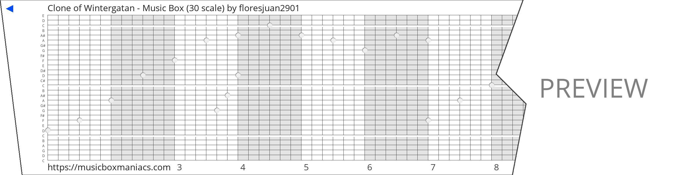 Clone of Wintergatan - Music Box (30 scale) 30 note music box paper strip