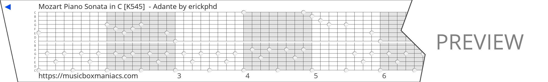 Mozart Piano Sonata in C [K545]  - Adante 15 note music box paper strip