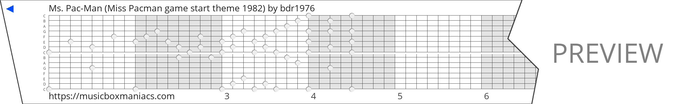 Ms. Pac-Man (Miss Pacman game start theme 1982) 15 note music box paper strip