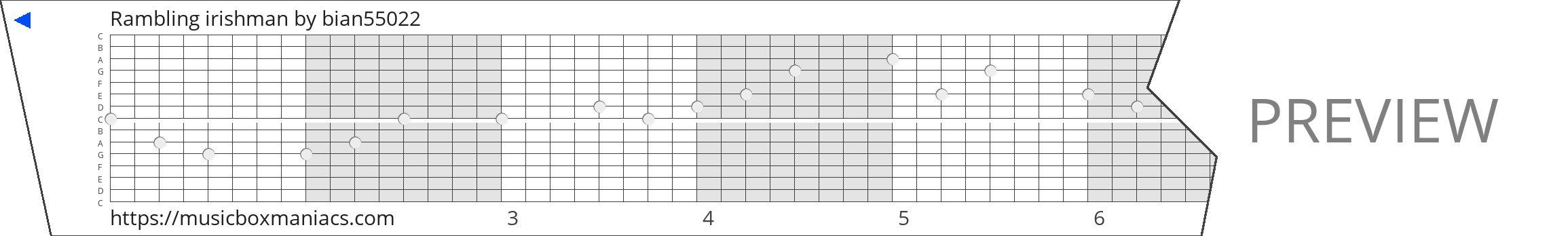 Rambling irishman 15 note music box paper strip