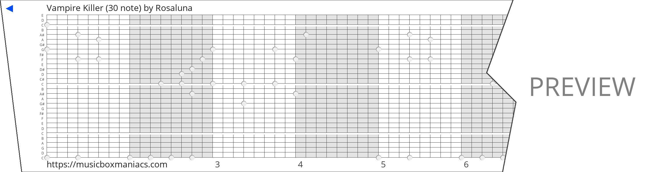 Vampire Killer (30 note) 30 note music box paper strip