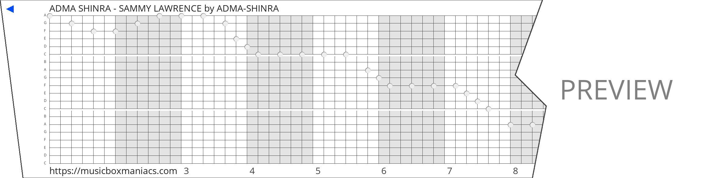 ADMA SHINRA - SAMMY LAWRENCE 20 note music box paper strip