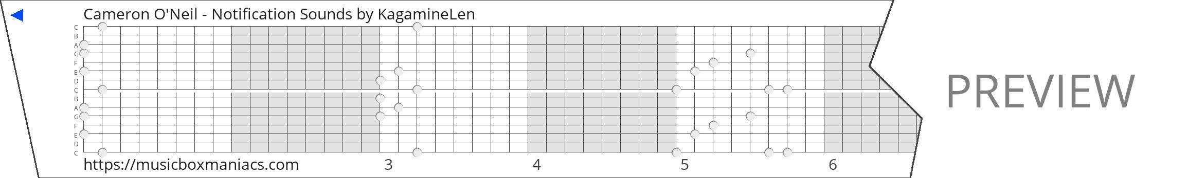 Cameron O'Neil - Notification Sounds 15 note music box paper strip